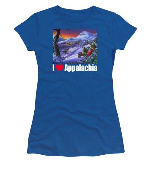 I Love Appalachia T Shirt - Small Town Winter Landscape 2 - Cardinals Women's T-Shirt