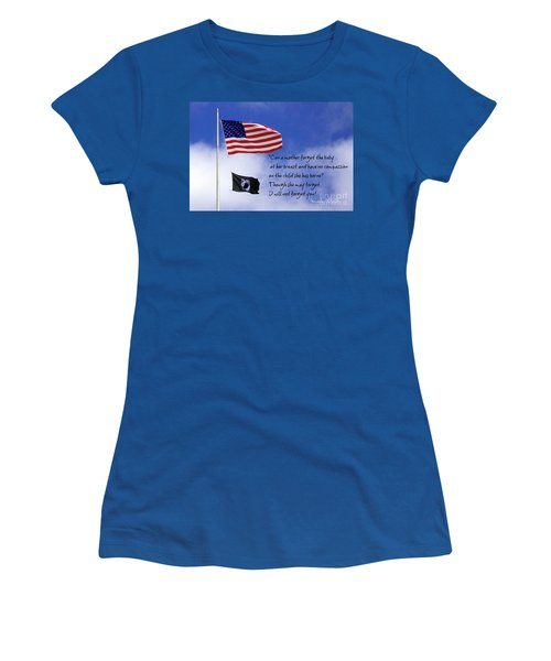 Women's T-Shirt (Junior Cut) featuring the photograph I Will Not Forget You American Flag Pow Mia Flag Art by Reid Callaway