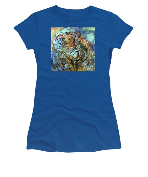 Women's T-Shirt (Athletic Fit) featuring the mixed media Iguana - Spirit Of Contentment by Carol Cavalaris