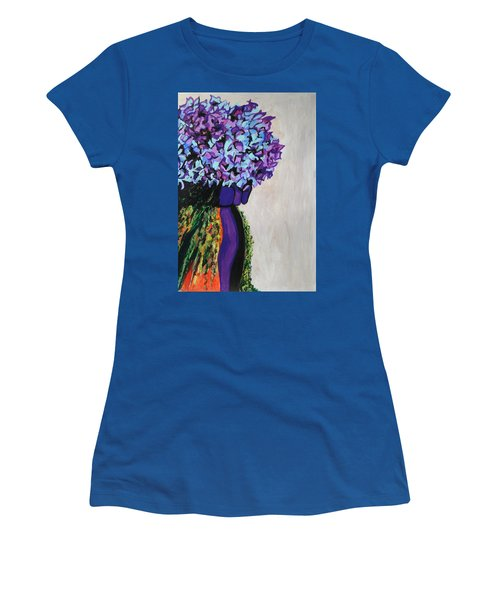 Indigo Flowers For Ma Women's T-Shirt (Junior Cut) by Esther Newman-Cohen