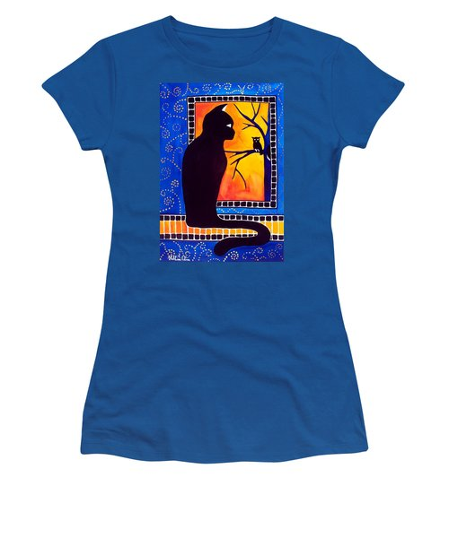 Women's T-Shirt (Junior Cut) featuring the painting Insomnia - Cat And Owl Art By Dora Hathazi Mendes by Dora Hathazi Mendes