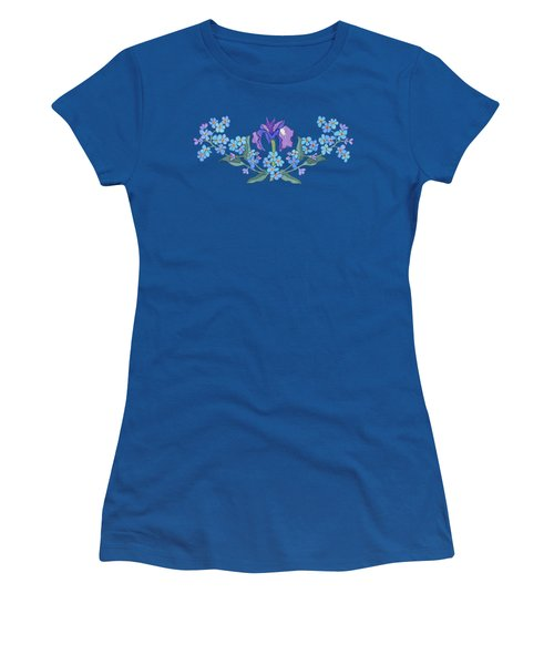 Iris And Forget Me Not Curved Garland Women's T-Shirt (Junior Cut) by Teresa Ascone