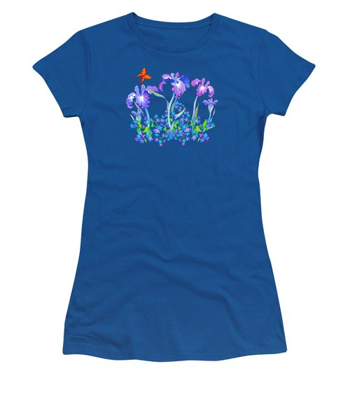 Iris Bouquet With Forget Me Nots Women's T-Shirt (Junior Cut) by Teresa Ascone