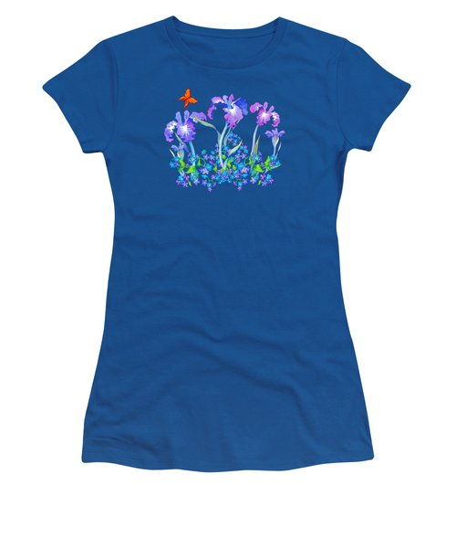 Iris Bouquet With Forget Me Nots Women's T-Shirt