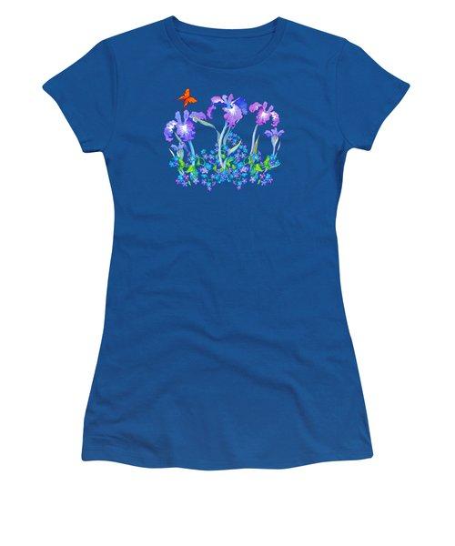 Iris Bouquet With Forget Me Nots Women's T-Shirt