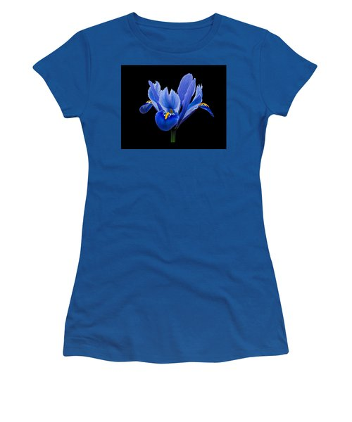 Women's T-Shirt featuring the photograph Iris Reticulata, Black Background by Paul Gulliver