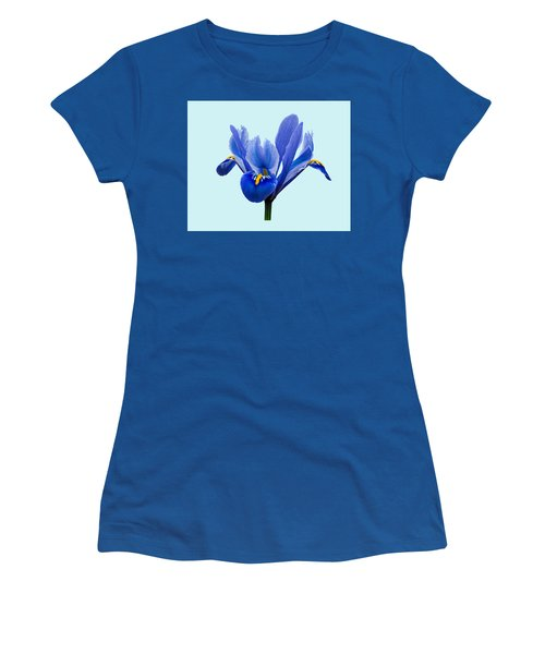 Iris Reticulata Blue Background Women's T-Shirt (Athletic Fit)