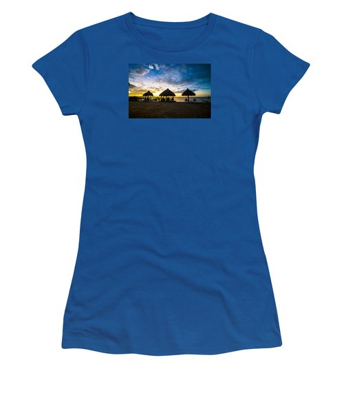 Island Huts Sunset Women's T-Shirt (Junior Cut) by Kevin Cable