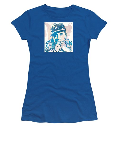 Jay-z  Etching Pop Art Poster Women's T-Shirt (Junior Cut) by Kim Wang