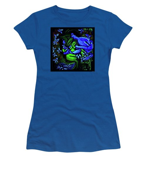 Kalyana Sawgandhika Flowers Women's T-Shirt (Junior Cut) by Latha Gokuldas Panicker