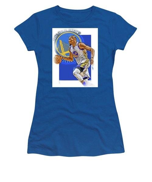 Kevin Durant Golden State Warriors Oil Art Women's T-Shirt