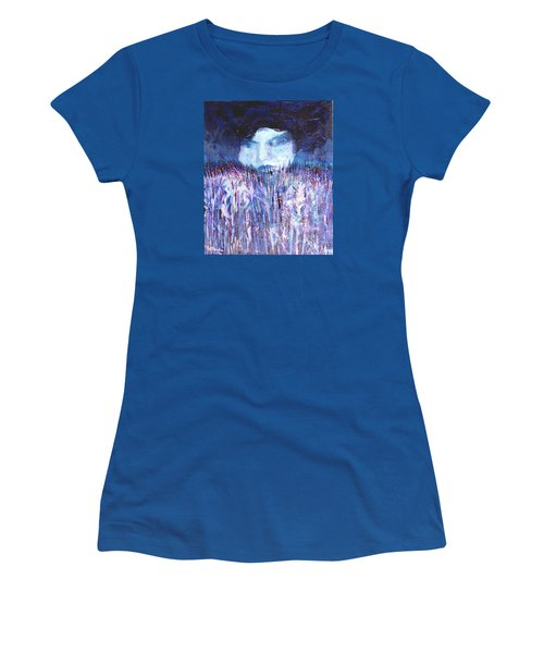 Women's T-Shirt (Junior Cut) featuring the painting Kiss Of The Silver Moon by Seth Weaver