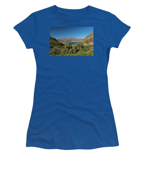 Women's T-Shirt (Athletic Fit) featuring the photograph Lake Hawea Approach, Otago by Gary Eason