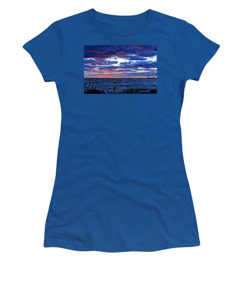 Lake Michigan Windy Sunrise Women's T-Shirt (Junior Cut) by Joni Eskridge