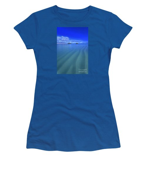 Women's T-Shirt (Junior Cut) featuring the photograph Lanikai Beach Ripples In The Sand by Aloha Art