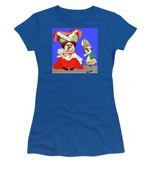 Women's T-Shirt (Athletic Fit) featuring the painting Lewis Carrolls Alice, Red Queen And Crying Infant by Marian Cates