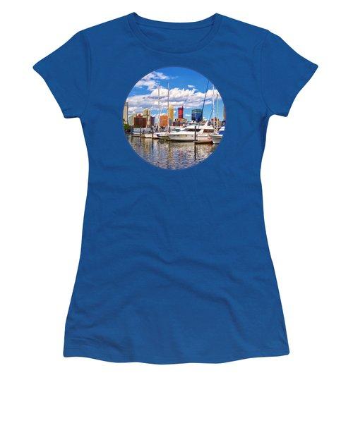 Liberty Landing Marina Against Jersey City Skyline Women's T-Shirt