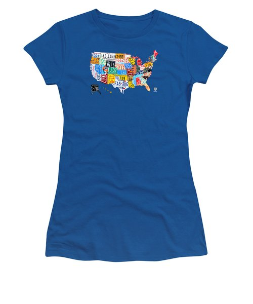 License Plate Map Of The Usa On Royal Blue Women's T-Shirt