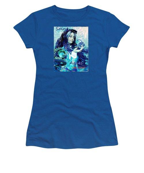 Women's T-Shirt (Junior Cut) featuring the painting Light Of Vietnam Saint Agnes by Suzanne Silvir
