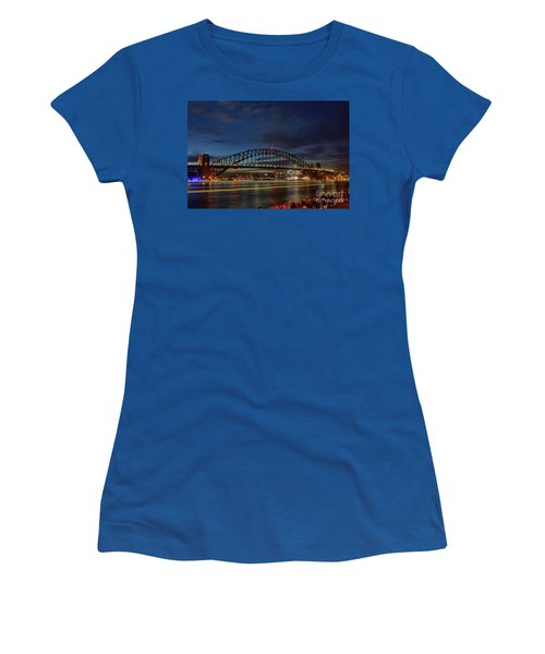 Women's T-Shirt (Athletic Fit) featuring the photograph Light Trails On The Harbor By Kaye Menner by Kaye Menner