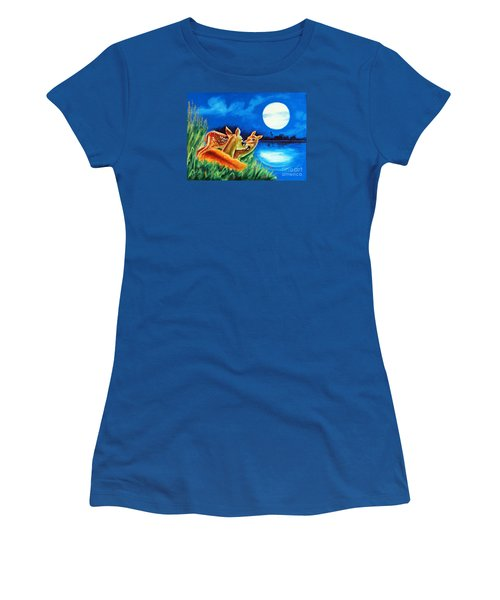 Women's T-Shirt (Junior Cut) featuring the painting Love And Affection by Ragunath Venkatraman