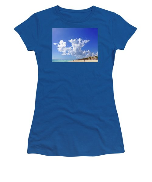 Women's T-Shirt (Athletic Fit) featuring the digital art M Day At The Beach by Francesca Mackenney