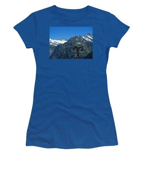 Maennlichen Gondola Calbleway, In The Background Mettenberg And Schreckhorn Women's T-Shirt (Junior Cut) by Ernst Dittmar