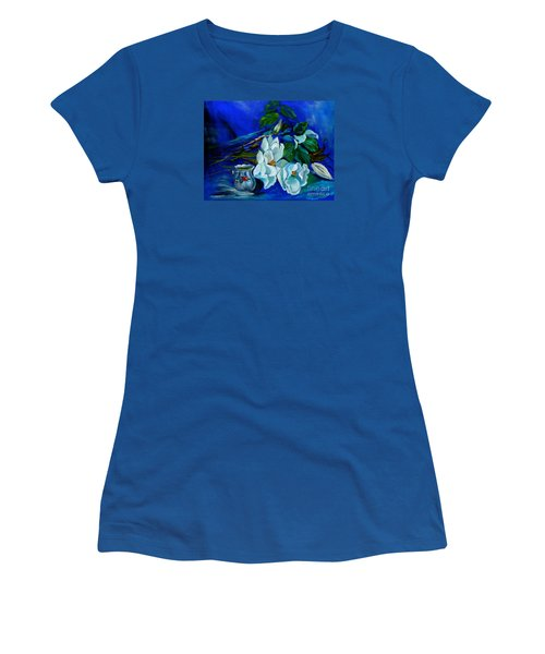 Magnolias And Cream Women's T-Shirt (Junior Cut) by Jenny Lee