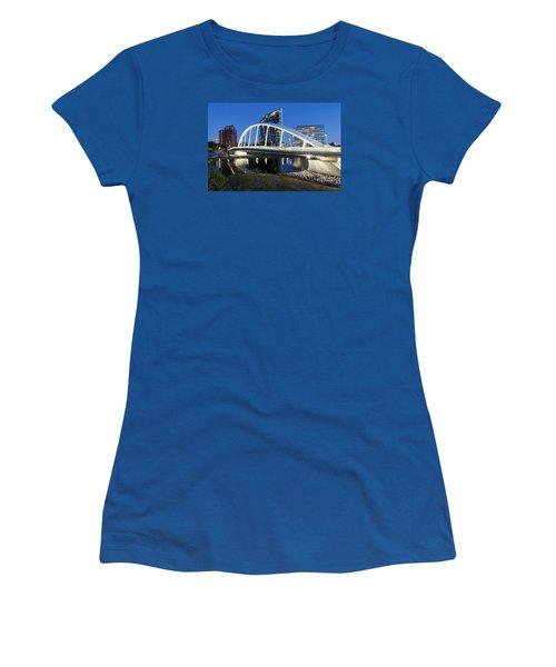 Main Street Bridge Columbus Women's T-Shirt (Junior Cut) by Alan Raasch