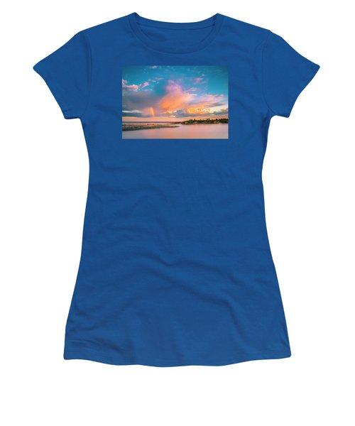 Maine Sunset - Rainbow Over Lands End Coast Women's T-Shirt