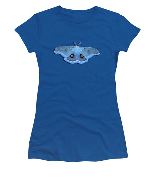 Women's T-Shirt (Junior Cut) featuring the photograph Male Moth Light Blue .png by Al Powell Photography USA