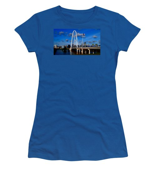 Women's T-Shirt (Junior Cut) featuring the photograph Margaret Hunt Hill Bridge Dallas Flood by Kathy Churchman