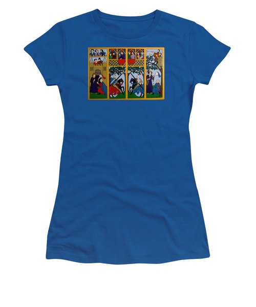 Women's T-Shirt (Junior Cut) featuring the painting Medieval Scene by Stephanie Moore
