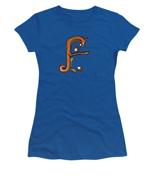 Medieval Squirrel Letter F Women's T-Shirt (Junior Cut) by Donna Huntriss
