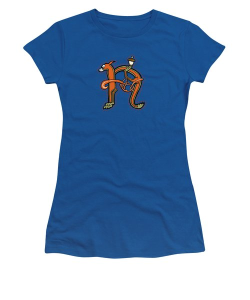 Medieval Squirrel Letter N Women's T-Shirt (Junior Cut) by Donna Huntriss