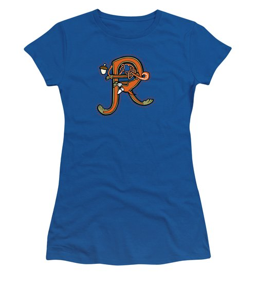 Medieval Squirrel Letter R Women's T-Shirt (Junior Cut) by Donna Huntriss