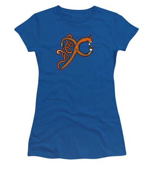 Medieval Squirrel Letter X Women's T-Shirt (Junior Cut) by Donna Huntriss