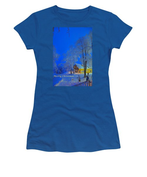 Merry Christmas Cabin Digital Art Women's T-Shirt