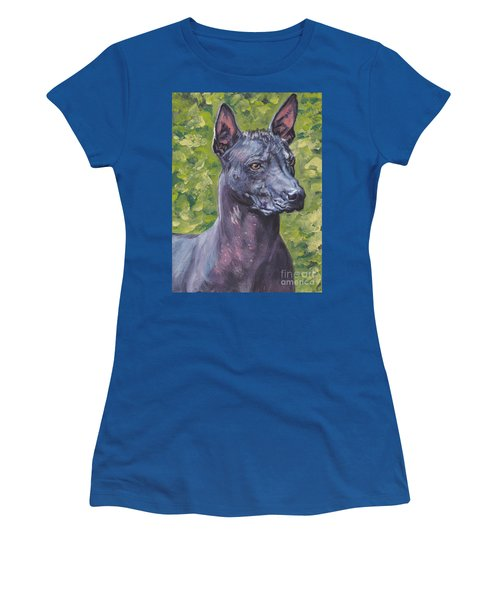 Women's T-Shirt (Junior Cut) featuring the painting Mexican Hairless Dog Standard Xolo by Lee Ann Shepard