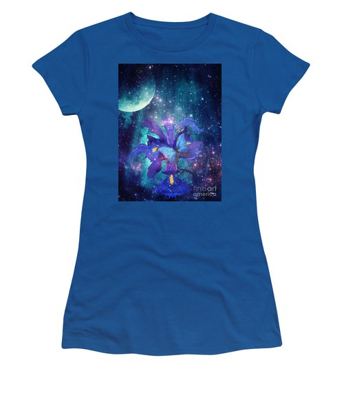 Women's T-Shirt (Junior Cut) featuring the digital art Midnight Butterfly by Mo T