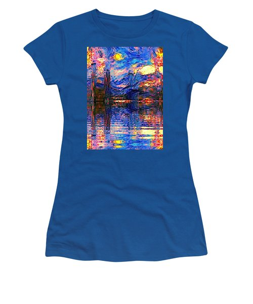 Women's T-Shirt (Junior Cut) featuring the painting Midnight Oasis by Holly Martinson