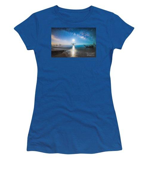 Milky Way Shore Women's T-Shirt (Junior Cut) by Robert Loe