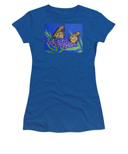 Monarch Butterflies On Buddleia Flower Women's T-Shirt