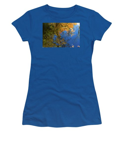 Women's T-Shirt (Athletic Fit) featuring the photograph Monet's Autumn Pool by Lon Dittrick