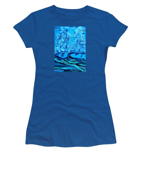 Women's T-Shirt (Junior Cut) featuring the painting Monsoon Desert Storms IIi by Carolina Liechtenstein