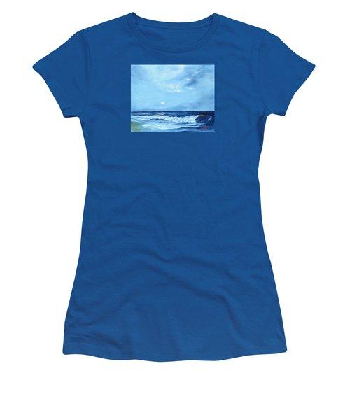 Moon Light Night Wave Women's T-Shirt (Junior Cut) by Lloyd Dobson