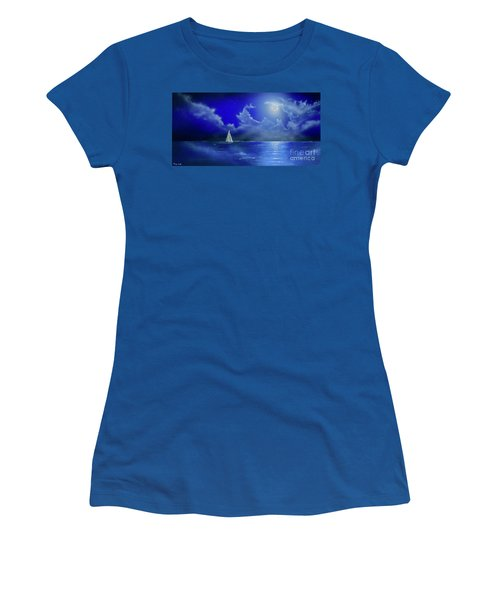 Women's T-Shirt featuring the painting Moon Light Sail by Mary Scott