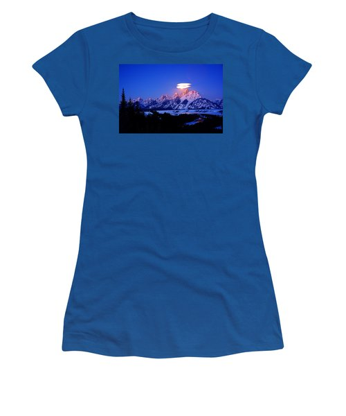 Moon Sets At The Snake River Overlook In The Tetons Women's T-Shirt (Athletic Fit)