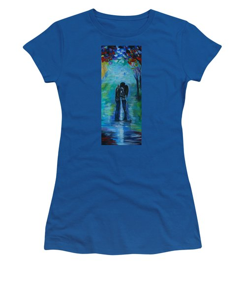 Women's T-Shirt (Junior Cut) featuring the painting Moonlight Kiss Series 1 by Leslie Allen