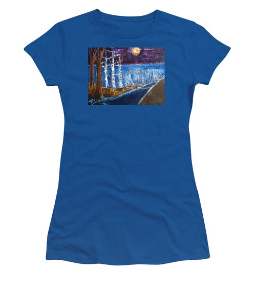 Women's T-Shirt (Junior Cut) featuring the painting Moonlight On Path To Beach by Betty Pieper